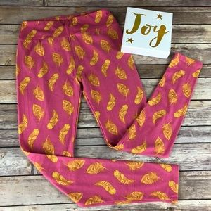 LuLaRoe Pink with Yellow Feather Leggings. Size OS